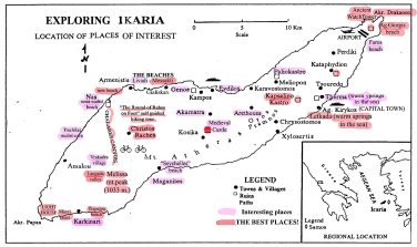 Map of Ikaria's nicest spots