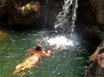 Wild swimming in Ratsos waterfall, Chalares Canyon Ikaria 1