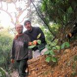 Giorgos and Angelos while working to open the Trail of the Elves, Ikaria