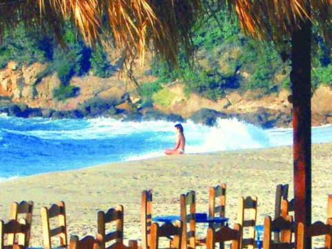 Resting after getting beaen up in the waves, Ikaria, a long time ago