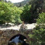 Simply Finnish - posing on Gemelia bridge, Chalares canyon, Ikaria