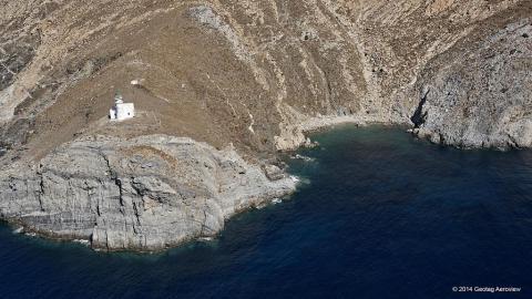 Kavo Papas and Ai Giorgis cove ubder the lighthouse