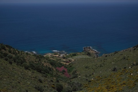 """Hilopotami"" mountain ravine ending in Kioni bay, northern Ikaria"