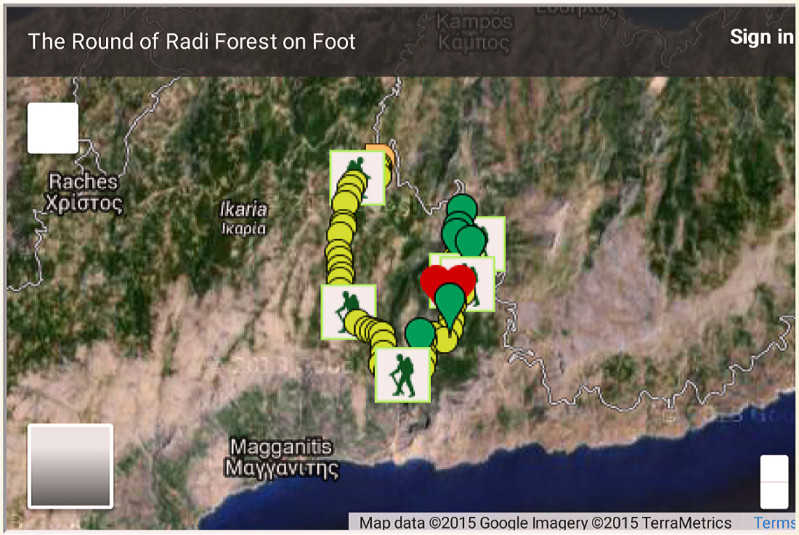 Maps and hiking routes by OPS Ikarias on Google maps - a presentation of places and trails to hike in Ikaria by Nana to agrimi in her blog. Click on image to view all maps in this entry.