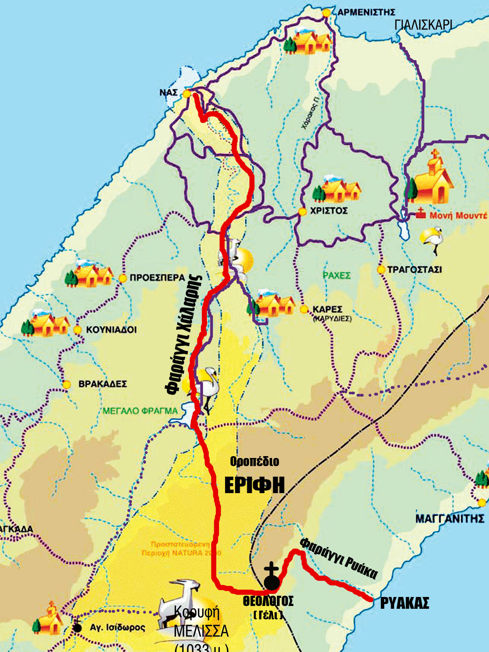 Scetchy map of the hike of the two canyons in Ikaria