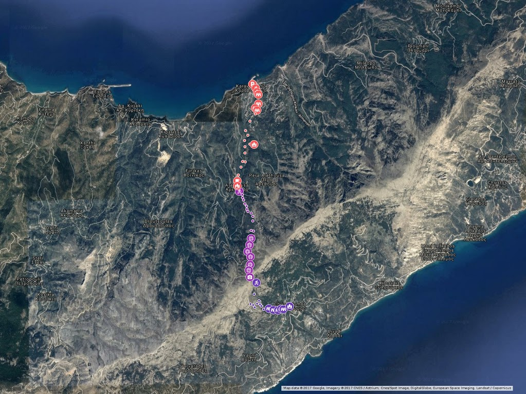 Από Ορειβατικό Πεζοπορικό Σύλλογο Ικαρίας χάρτης στο Google maps της διαδρομής: Καραβόσταμο - Αρέθουσα - Δοκίμι - Χρυσόστομο