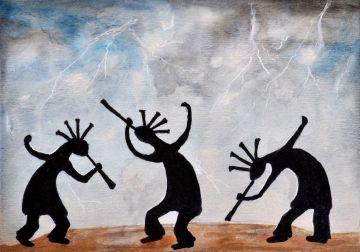 Kokopelli Rain Dance by Carla Mora