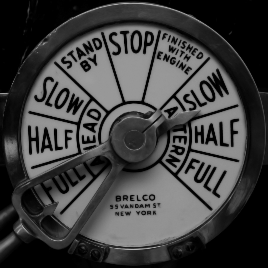 'Slow Astern' is a position on the engine telegraph located inside the bridge of a ship. It's purpose is to transmit the orders of the captain to the engine room below decks. 'Slow astern' means 'slowly backwards'. In Greek it is 'ΟΠΙΣΘΕΝ ΗΡΈΜΑ'. I am using this nautical term as a metaphor to say 'slowly back to the past' or if you wish, «a calm and sobber throwback in time».