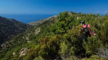 Trekking through the bushes in Ikaria