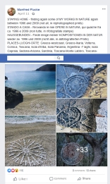 OPERE IN NATURA, facebook post by visual artist Manfred Flucke containing several photos of artistic stone works made between 1996 and 2009 in various parts of the world: Greece-westcoast, Greece-Ikaria, Volterra, Corsica, Toscana, Isola d'Elba, Isola Panarea, Argentina -7 laghi, isola Capraia, Sedona-Arizona, Sardinia, Toscana-Monte Labbro, Toscana-Firenzuola, Catalonia-Montserrat, Italy-Cilento. © All rights reserved